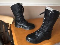 Dr Martens 1914 black shearling triumph leather boots UK 8 EU 42 punk goth biker