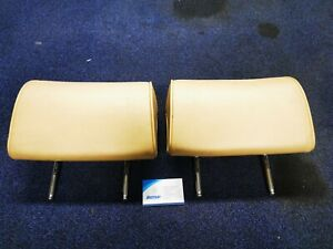 BMW e38 7 Series Beige Leather Head Rests Pair - Some Marks.