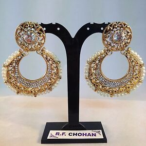 Gold pearl earrings bling statement studs Bollywood fashion wedding party gifts