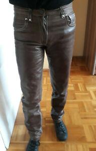 Braune Lederjeans 30