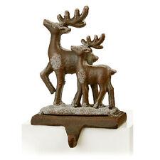 More details for christmas 18cm stocking hanger holder fireplace mantle hooks decoration 2 deers