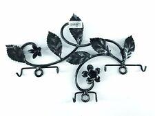 Appendino oortapresine portachiavi in ferro con rose nero da fissare in cucina