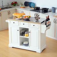 Modern Wooden Rolling Kitchen Cart Island Cabinet Storage Utility - White