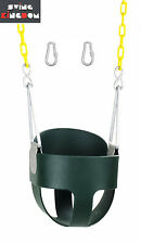 Fully Assembled High Back Full Bucket Toddler Swing Seat Green Heavy Duty Chain
