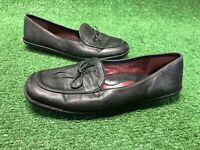 Born Bolo Made In Italy Moc Toe Women's Black Leather Loafers Mary Jane Sz 8/39