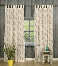 Indian Leaf Print Curtain Tab Top Tapestry Curtains Window Bohemian Valance 2 PC