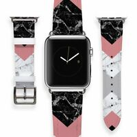 Geometric iWatch Leather Bracelet Marbled Apple Watch Band Women Smart Watch