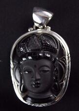 Black Obsidian Buddha Face Pendant Sterling Silver .925  Elegant