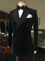 New Men Designer Black Double Breasted Tuxedo Dinner Velvet Jacket Blazers UK