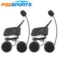 2x V6 Intercom Motorcycle Bluetooth Interphone Helmet Headset Moto 1200m 6 Rider