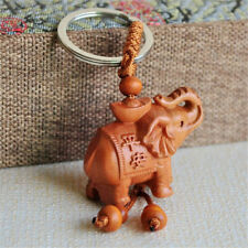 Creative Walnut Ingot Elephant Keychain Car Wood Pendant Keyring Portable HS