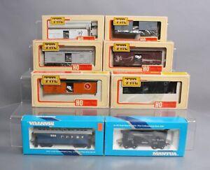 Mantua HO Assorted Kit & Assembled Freight & Passenger Cars [8]/Box
