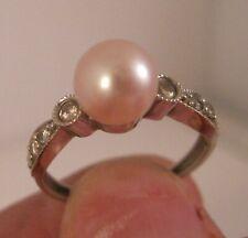 tcw Diamond Ring Size 5.75 Jewelry Engagement New ListingVintage 14K Wg Sea Pearl & ,18