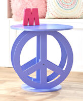 Purple Peace Sign Shaped End Side Accent Table Bedroom Living Room Home Decor