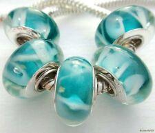 5PCS Silver Single Core Murano Lamp Glass Beads fit European Charm Bracelet A039
