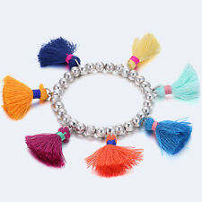 Women Fashion Crystal Beads Colored Tassel Bracelet Elastic Bangle Jewelry Gift