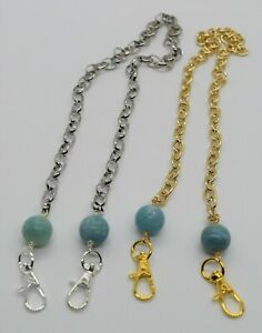 Face mask lanyard Round blue green Amazonite 15 mm in gold or silver chain