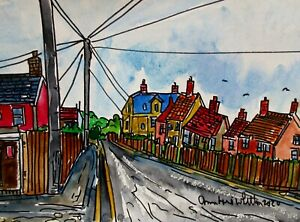 Watercolour Painting of Sea Palling Village View North Norfolk