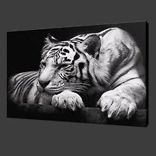 Modern Wildlife Wall Art Painting Black White Tiger Poster Canvas Decor Framed