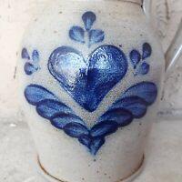 "Vintage 1989 Rowe Pottery Works Gray Blue Hearts Salt Glazed 9"" Pitcher"