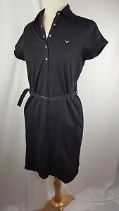 CALLAWAY GOLF BLACK BELTED POLO STYLE ATHLETIC DRESS SPORTS SIZE 14