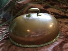 Antique Victorian Small Copper Meat Dome~Cover with Brass Handle & Rim