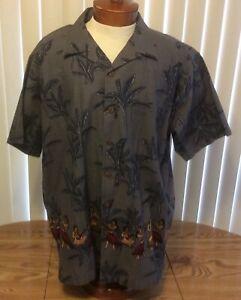 No Boundaries Blue Gray Hula Girl Print Hawaiian Camp Shirt XL Cotton