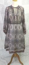 VTG 70s Leslie Fay Dress Sheer Paisley Smocking Bow Tie Boho Hippie Peasant  PM