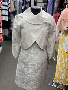 TAHARI BY ARTHUR LEVINE DRESS SUIT/SIZE 16W/RETAIL$280/ Taupe  /LINED/jacquard