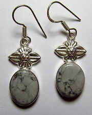 "Genuine Granite Dangle Silver Plated Earrings 1-7/8"" w/Sterling Hooks  GRAE680"