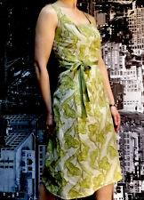 Elegant Veronika Maine Dress, Size 8, Taupe/Mustard/Green, Cotton Flax Blend