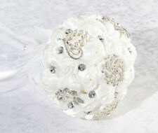 Crystal Flower Bouquet White or Ivory Bridal Bride Wedding Bouquet