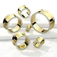 PAIR Gem Rim Gold Double Flare Tunnels Internally Threaded  Plugs Earlets Gauges