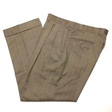 ERMENEGILDO ZEGNA Mens 34/28 Tan Beige Herringbone Wool Pleated Pants/Trousers