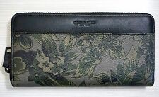 Coach Accordion Wallet, Green & Black Floral Hawaiian Print Coated Canvas F53911