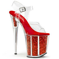 Pleaser FLAMINGO-808G Women's Clear Red Glitter Heel Platform Ankle Strap Sandal