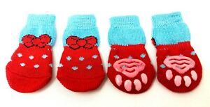 Dog Puppy Anti-slip Socks - For Tiny & Small Breeds - Blue with Red Bow- S, M, L
