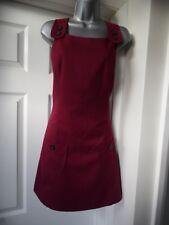 new look dark red/burgundy pinafore work office dress size 14