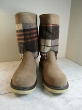 Wolverine Brown Suede Flannel/Fleece Plaid Upper Ankle Boots Women's Size 7.5 M