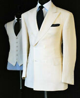 Ivory Cream Men's Linen Tuxedos Double-breasted Groom Wedding 3 Pieces Suits