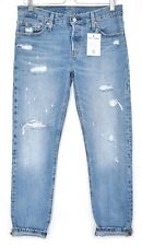 Levis 501 CT BOYFRIEND Blue Tapered Ripped Distressed CROP Jeans Size 6 W24 L32