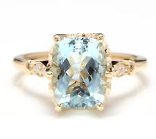 3.08 Carats Natural Aquamarine and Diamond 14K Solid Yellow Gold Ring
