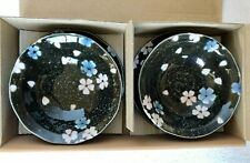 Japanese 2 x small bowl & plate set.Glossy black with flowers. Made in Japan.