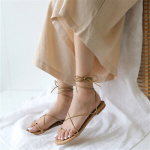 Korean Cross Strappy Roman Sandals Fashion Casual Back Lace-up Flat Womens Shoes