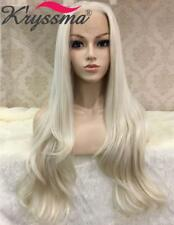 K'ryssma Wavy White Blonde Front Wigs Synthetic 24 inch