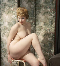 Vintage Stereo Realist Photo 3D Stereoscopic Slide NUDE Redhead Knee Up