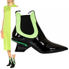 39.5 NEW $950 PRADA RUNWAY Black PATENT LEATHER LIME Neoprene Scuba Ankle BOOTS