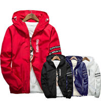 Men's Casual Hooded Coat Slim Jacket Overcoat Thin Windbreaker Hoodie Zipper Up