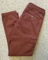 TED BAKER UTILITY COMBAT CHINO TROUSERS 32 R SLIM FIT PASTEL WINE COST £110