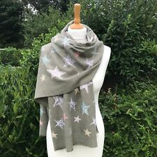 STAR SCARF, LADIES CASHMERE AND COTTON BLEND SCARF, KHAKI GREEN , VERY SOFT